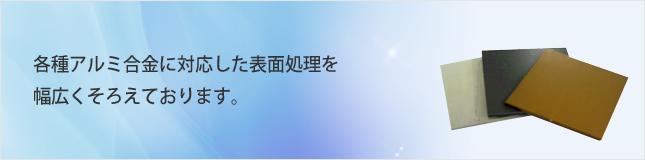各種アルミ合金に対応した表面処理を幅広くそろえております。